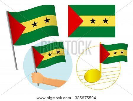 Sao Tome And Principe Flag Icon Set. National Flag Of Sao Tome And Principe Vector Illustration