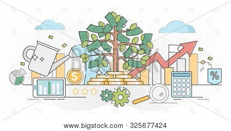 Investing Money Outline Concept Vector Illustration.deposit Profit In Business Wealth.increase Incom