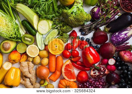 Natural Vitamins And Antioxidants Food Rainbow Top View.