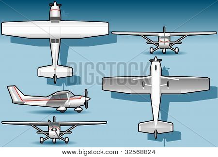white plane in five position