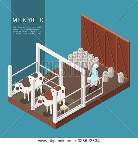 Milk Production Concept With Milk Yield Symbols Isometric Vector Illustration