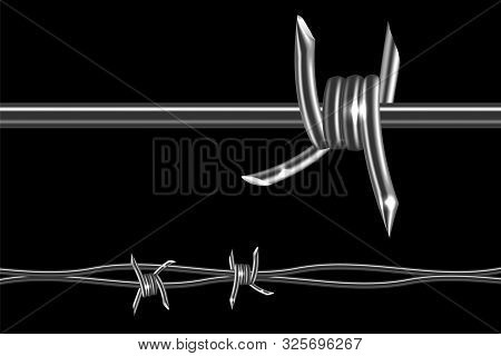 Barbed Wire - Symbol Restraint, Restricted Area, Refer To The Boundaries Of Territory. Barb Wire Rea