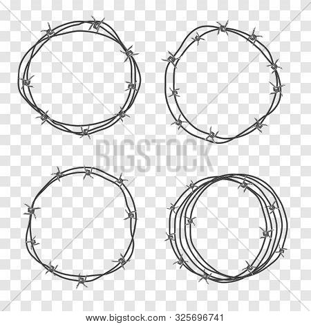Barbed Wire Coil. Set For Concept Design, Restricted Area, Refer To The Boundaries Of Territory. Bar
