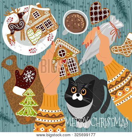 Preparing For Christmas And New Year. Cute Vector Illustration - Gingerbread Cookies Scattered On Th