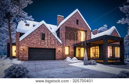 3D Rendering Of Modern Clinker House On The Ponds With Pool In Winter Night
