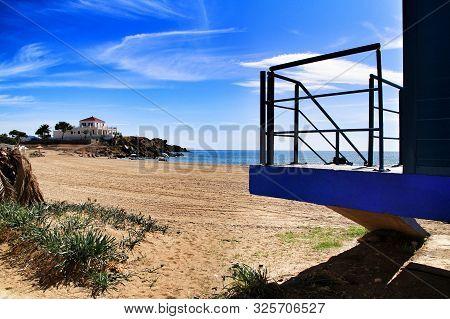Beautiful Bahia beach in Mazarron, Murcia, Spain. Island in the background. poster