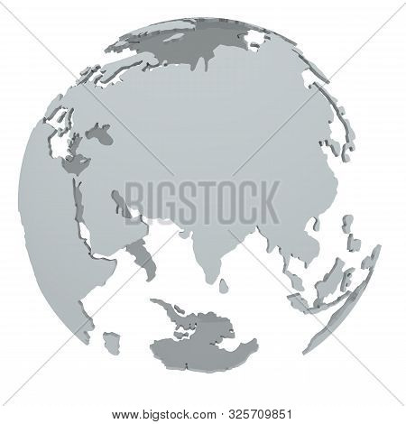 Continents Of The Globe. Transparent Globe With The Outlines Of The Continents Of The Globe. Isolate