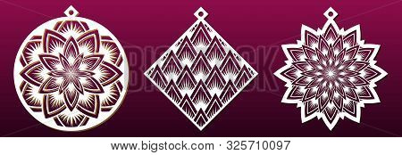 Set Of Decorative Christmas Shapes, Templates For Laser Cutting, Paper Art Or Metal Cut. Abstract Pa