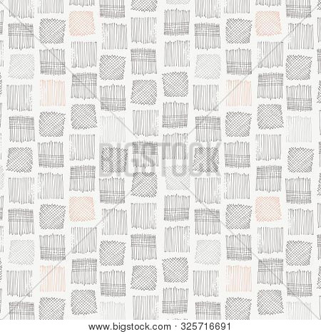 Paddy Field Hatch And Cross Hatch Squares Seamless Vector Pattern. Hatched And Crosshatched Squares