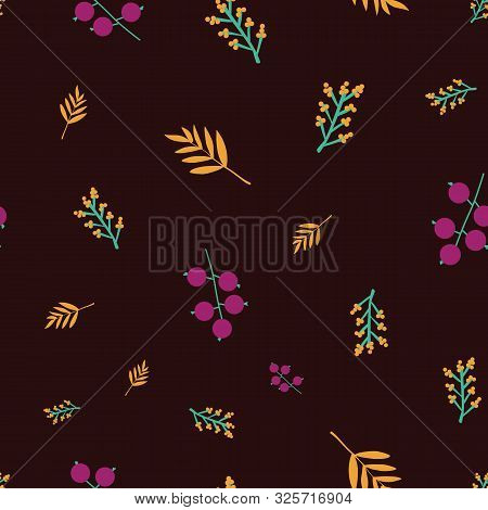 Scattered Autumn Leaves Berries Acorn Seamless Vector Background. Abstract Fall Pattern Red Orange B