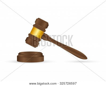 Wooden Judge Gavel And Soundboard Isolated On White Background.