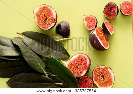 Ripe Sweet Figs. Fig Fruit Closeup Macro. Healthy Mediterranean Figs. The View From The Top. Selecti