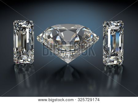 Large Diamond And Two Gemstones. 3d Image. Dark Background.