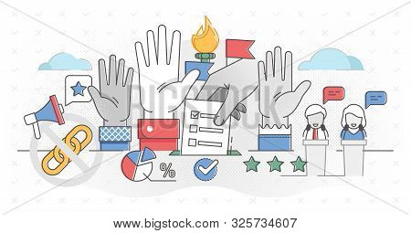 Democracy outline concept vector illustration. Freedom of speech, justice voting and opinion as national ideology. Referendum and poll choice event. Citizen activity in political election campaign. poster