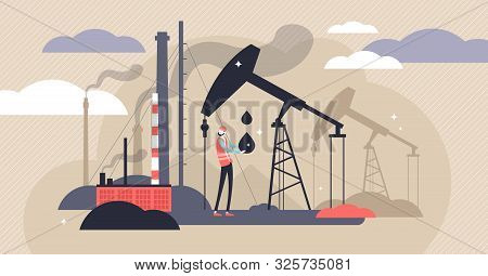 Oil Industry Vector Illustration. Flat Tiny Fuel Mining Persons Concept. Energy Source Industry With