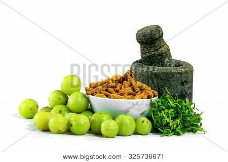 Indian Ayurveda Hair Oil Making Ingredients Isolated In White Background