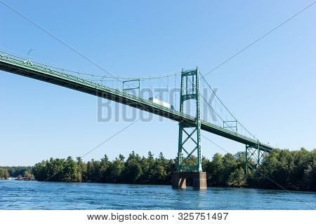 Detail Of The Thousand Islands Bridge Across St. Lawrence River. This Bridge Connects New York State