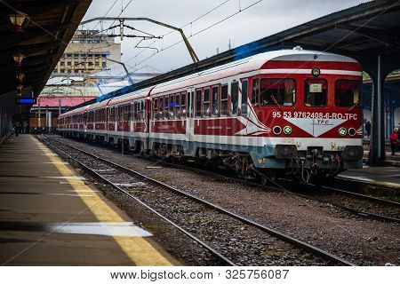 Train On The Platform Of Bucharest North Railway Station (gara De Nord Bucuresti) In Bucharest, Roma