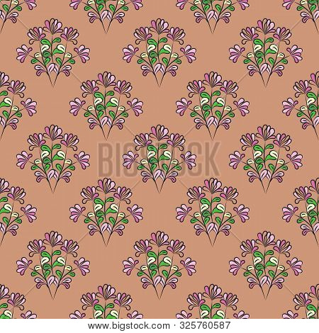 Seamless Floral Pattern With Black Contour, Mauve Flowers, Yellow, Green And Pink Leaves, Brown-pink