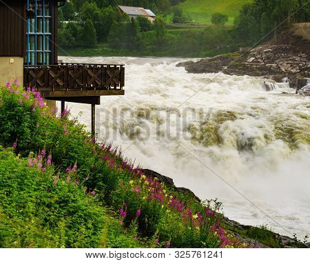 Formofossen Powerful River Waterfall On The Sanddola River. Grong Municipality, Nord-trondelag Count