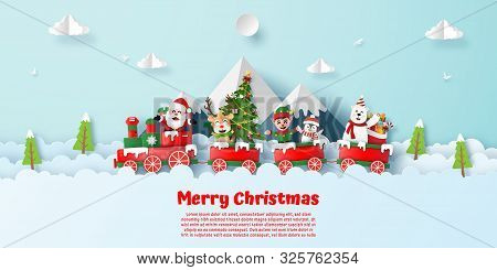 Origami Paper Art Style, Postcard Of Christmas Party On The Train With Santa Claus And Christmas Cha