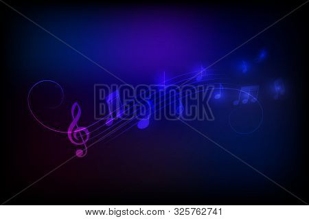 Neon Style Music Notes Vector Illustration Background