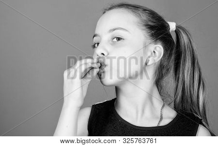 Confident Little Girl With Perfect Gesture. Like A Chef. Excellent. Small Girl Hold Fingers At Mouth