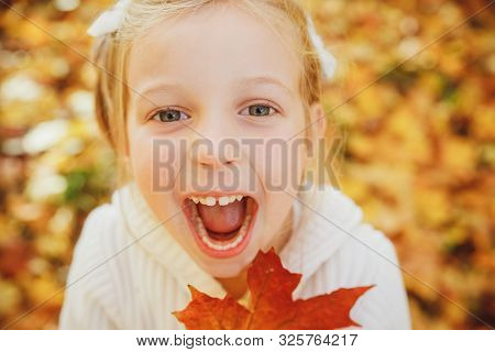 Happy Little Girl Playing With Autumn Leaves. Ute Funny Girl With Open Mouth In Autumn Park.close Up