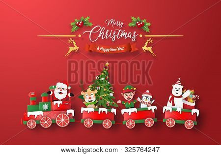 Origami Paper Art Of Christmas Train With Santa Claus And Character On Red Background, Merry Christm