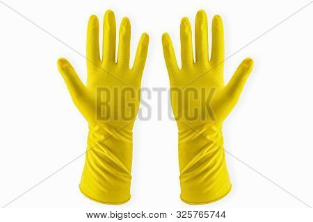 Yellow Household Rubber Glove Pair For Cleaning Disposable Pattern Bright Coloured