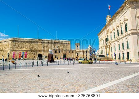 Valletta, Malta - 30 March 2019: The Auberge De Castille At Castille Place, Valletta, Malta