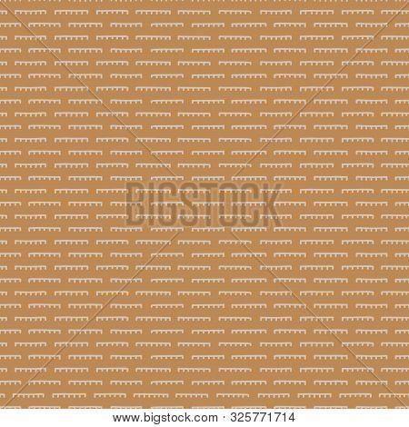Hand Drawn Broken Horizontal Stripe Seamless Pattern. Modern Lines, Hand Drawn In Brown, Mustard Yel