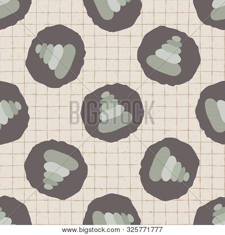 Hand Drawn Japanese Stone Stack Symbol Seamless Pattern. Soft Ecru Beige Neutral Tone Grid Backgroun