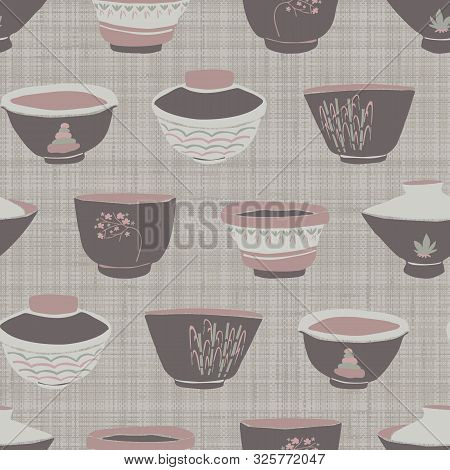 Hand Drawn Japanese Tea Bowl Seamless Pattern. Set Of Drink Bowls In Soft Ecru Off White Neutral Ton