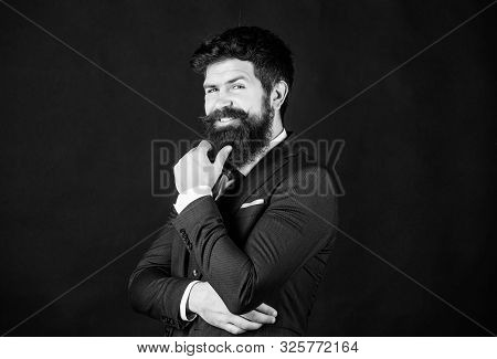 Fashion Concept. Guy Wear Formal Outfit. Businessman Fashionable Outfit Black Background. Impeccable