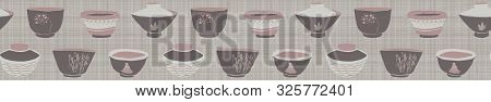 Hand Drawn Japanese Tea Bowl Seamless Border Pattern. Set Of Drink Bowls In Soft Ecru Off White Neut