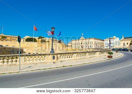 View To Baroque Style Mansion The Auberge De Castille From The Triq Girolamo Cassar, Valletta, Malta