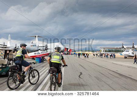 Abbotsford, Bc, Canada - Aug 11, 2019:: A Rcmp Officers Patrol At The Abbotsford International Airsh