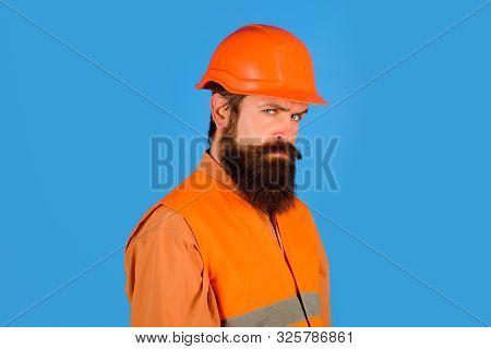 Repair, Construction, Building. Male Builder Or Manual Worker In Protective Helmet. Mechanical Worke