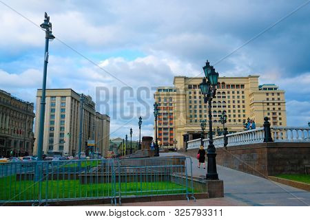 Moscow, Russia - August, 19, 2019: building of the Manege in Moscow, Russia