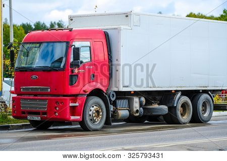 Moscow, Russia - September, 23, 2019: image of a parked truck