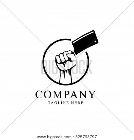 Hand With Cleaver Logo Design Vector Template