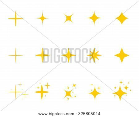 Flat Yellow Sparkle Star.gold Twinkle Stars Cartoon Style.set Of Light Firework, Glow Effect, Bright