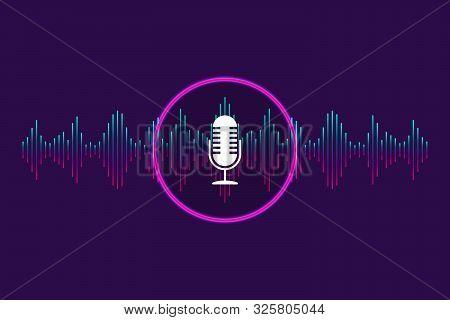 Voice Control, Recognition Voice Background. Digital Soundwave, Voice Assistant For Music, App, Elec