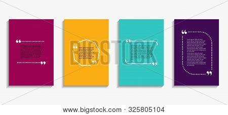 Banner With Quote Bubble, Citation Opinion. Speech Quotation In Circle Frame. Design Textbox In Brac