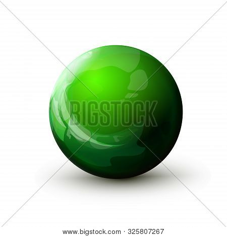 Sphere With Reflected Light, Green Ball. Mock Up Of Round The Realistic Glossy Object, Orb Icon. Des