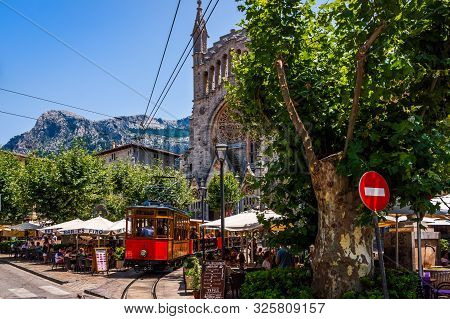 Soller, Mallorca, Spain, July 2015 Classic, Heritage Wood Tram Serving Town Of Soller And Village Po