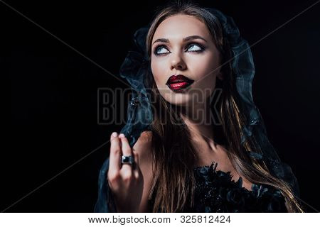 Scary Vampire Girl In Black Gothic Dress And Veil Isolated On Black