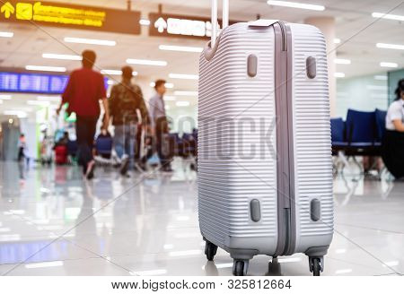 Suitcases At Airport Departure Lounge Traveler In Airplane Terminal Background,traveling Baggage In
