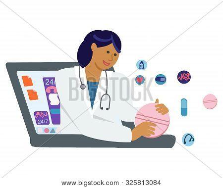 Virtual Doctor Offering Medication Via Internet.